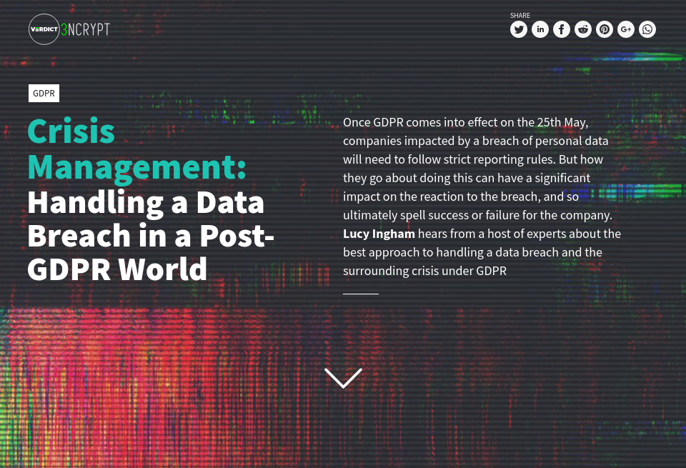 Crisis Management: Handling a Data Breach in a Post-GDPR World